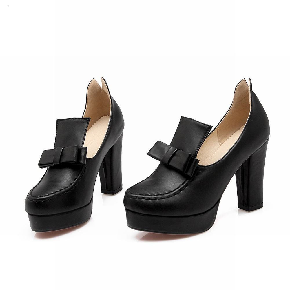 80c8301e5d2 Carolbar Women s Bows Fashion Red Sole Elegance Platform High Chunky Heel  Dress Pumps Shoes (9.5