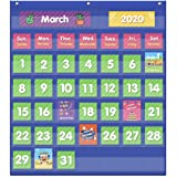 Eamay Classroom Monthly Calendar Pocket Chart with 71 Cards for Kids Learning for Home,Blue
