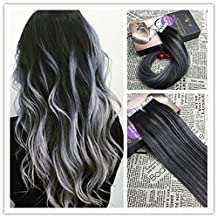 Moresoo 22 inch Balayage Ombre Two colored Natural Black/#1B Highlighted with Gray Silver Extensions of Remy Human Hair Tape in Hair Extensions