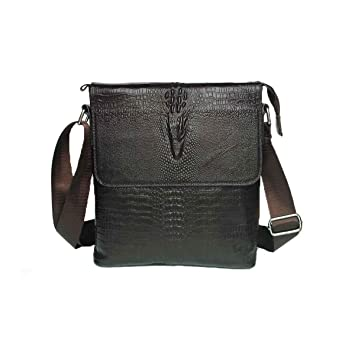 Men/'s Crocodile Genuine Cow Leather Messenger Shoulder Bag Business Bag Black