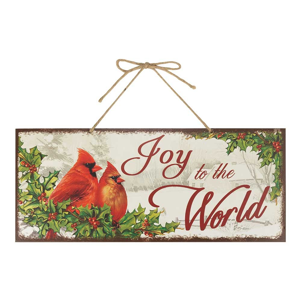 Dicksons Joy to The World Cardinal Holly 17.75 x 7.5 Wood Christmas Wall Sign Plaque