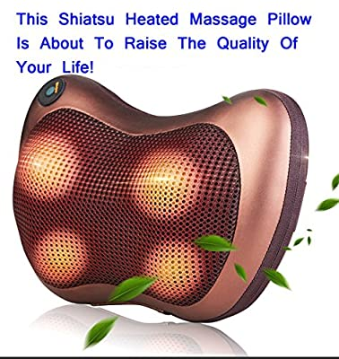 Pillow Massager,Neck Shiatsu Deep Kneading Massage with Heat for Relieving Back Neck and Shoulder Pain with Heat, Car/Office Chair Massager, Neck, Shoulder, Back, Waist Massager Pillow