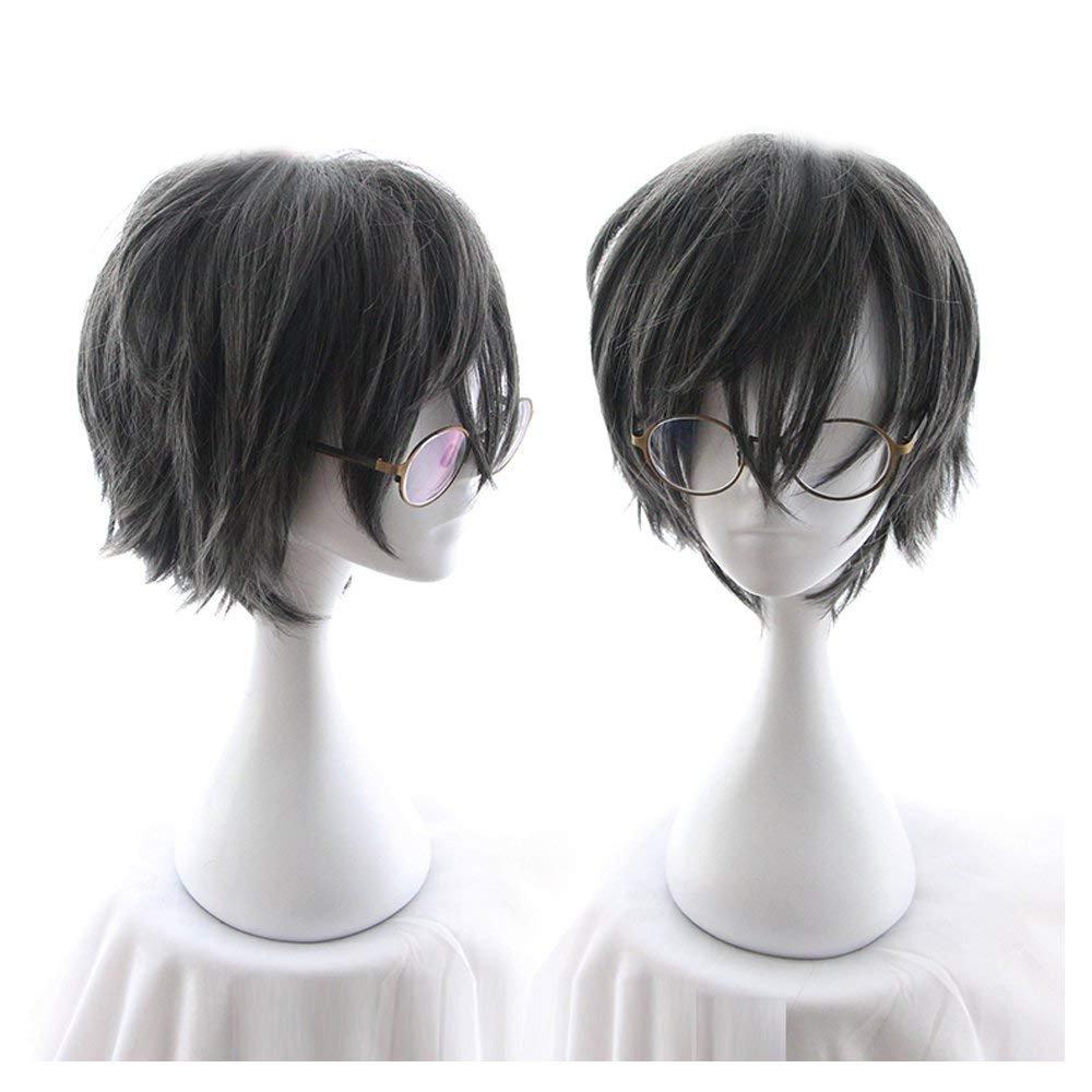 CHC FAIRY Men's Short Straight Wig Cosplay Costume Wig (grey Black)