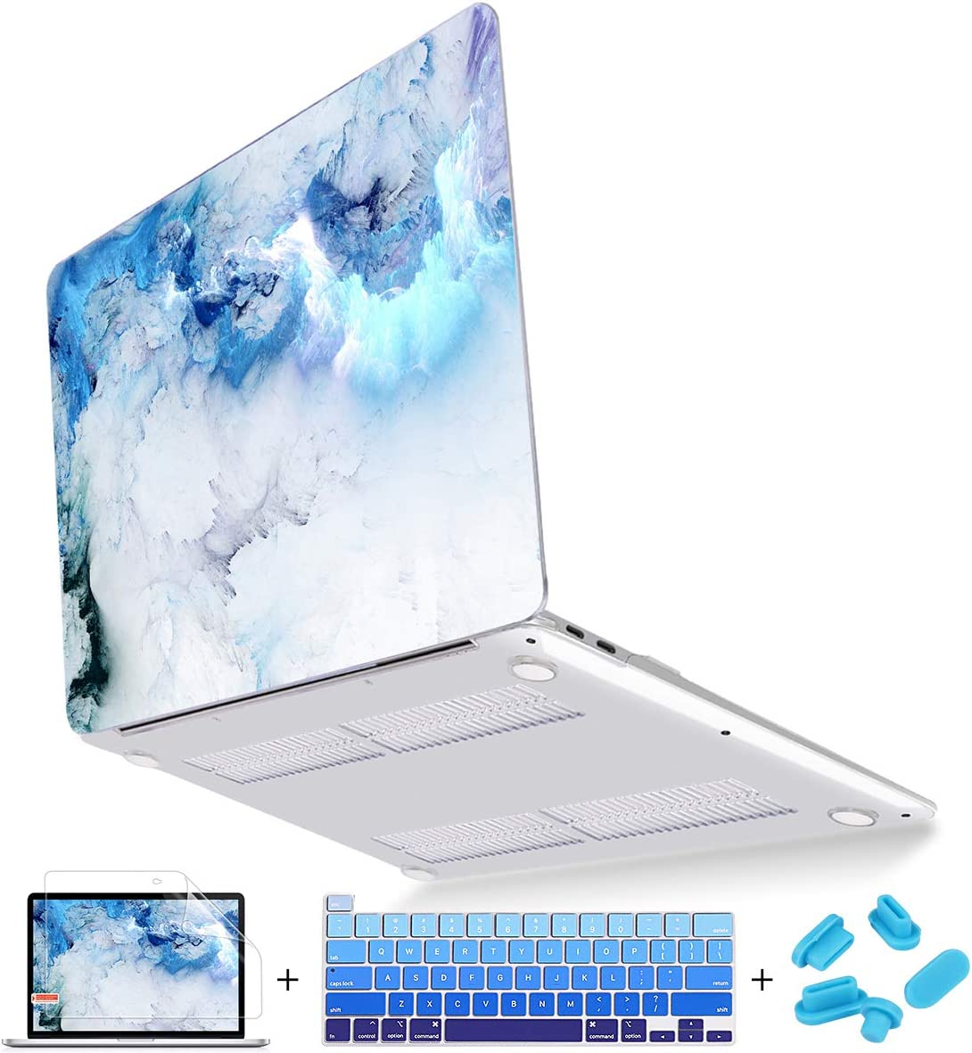 """Mektron Case for MacBook Pro 16 inch A2141 (2019 Release), Ultra Thin Clear Hard Laptop Cover for New MacBook Pro 16"""" with Touch bar & Touch ID, Cloud & Lightning"""