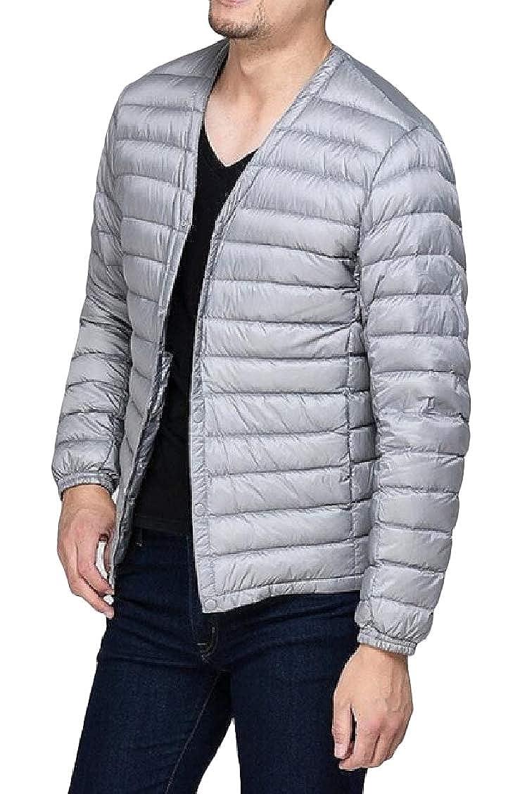 Sweatwater Mens Puffer Solid Color V Neck Slim Lightweight Parkas Coat