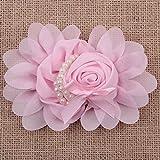 5/10/20pcs Big Satin Ribbon Rose Flower with pearls DIY Craft Wedding Applique ,20PCS,3#Pink