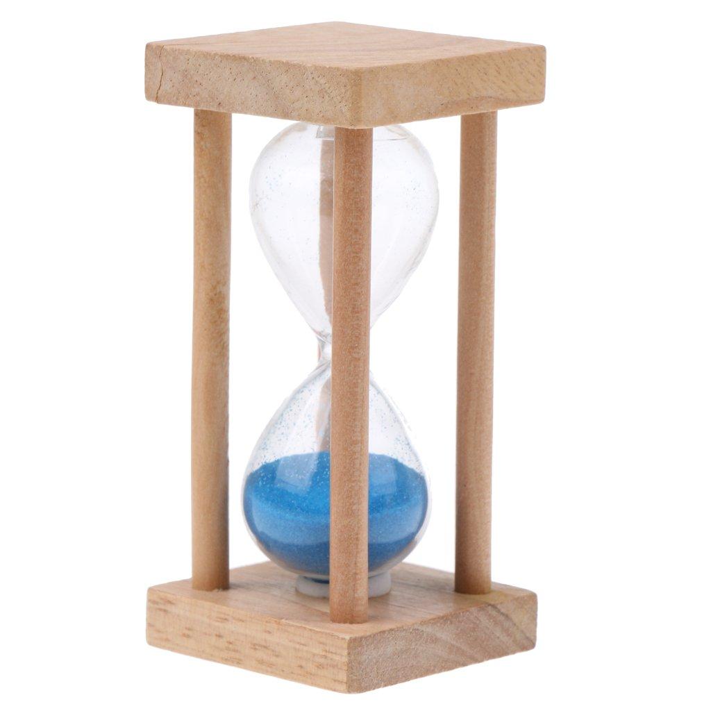 MagiDeal 5 Minuti Clessidra Sabbia Timer Orologio Struttura Quadrata di Legno Decorazione Domestica Casa, Idea Regalo - Rosa