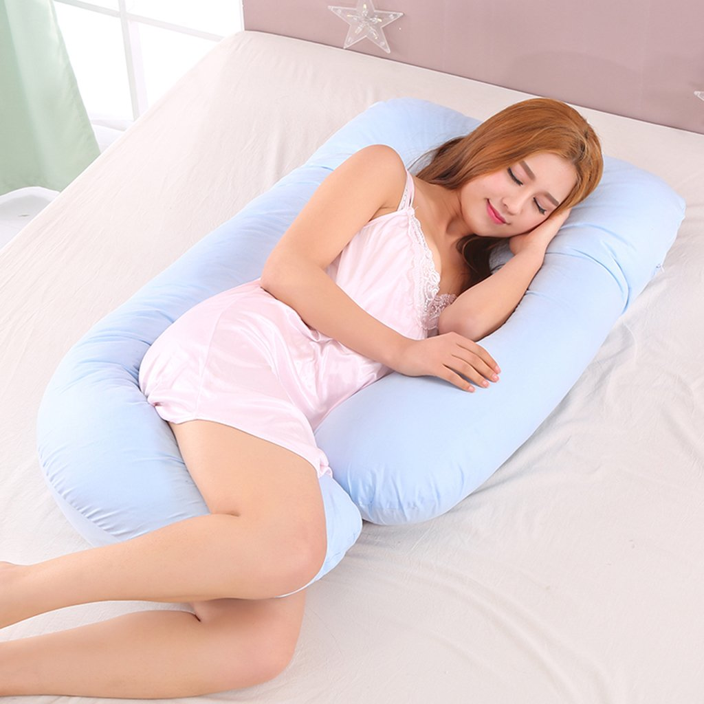Blau Kissen Homyl Komfortables U-Form Schwangerschaftskissen Seitenschl/äfkissen Nacken R/ücken Kissen f/ür Schwangere Frauen