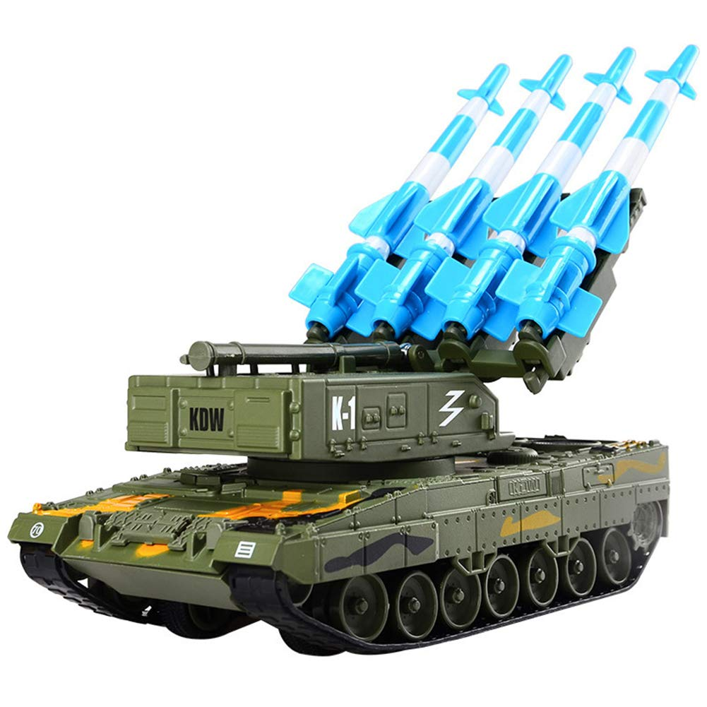 Mababys Toy car model Education kid Toy Alloy military tank model launch anti-aircraft combat vehicle crawler toy Suitable