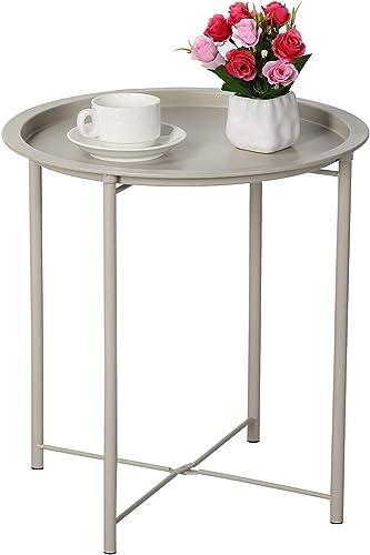 VECELO Side Round Tray Foldable Multi-Purpose Sofa,Coffee,End,Metal Table
