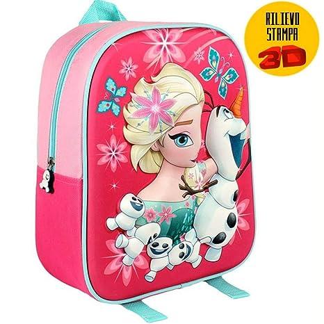 99ecc923ea TrAdE shop Traesio- Zainetto Frozen Elsa Olaf Stampa Rilievo 3D Bambine  Scuola Asilo Tempo Libero