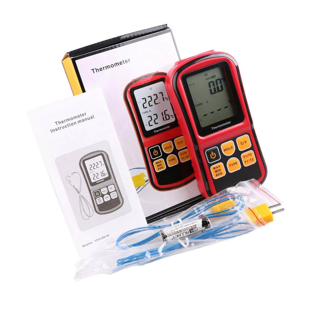 Electronic Thermocouple Thermometer Digital Thermometer Sensor GM1312 Dual-Channel LCD Temperature Meter Tester