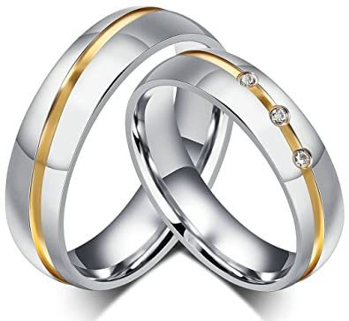 Amazon Com Anazoz Stainless Steel Couple Ring Two Tone Cubic