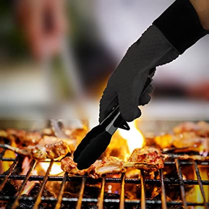 BBQ Grilling Gloves, GEEKHOM Silicone Gloves Heat Resistant Oven Mitts, Waterproof Non-slip Potholder with Extended Protection & Internal Cotton Layer for Barbecue, Cooking, Baking (Black)