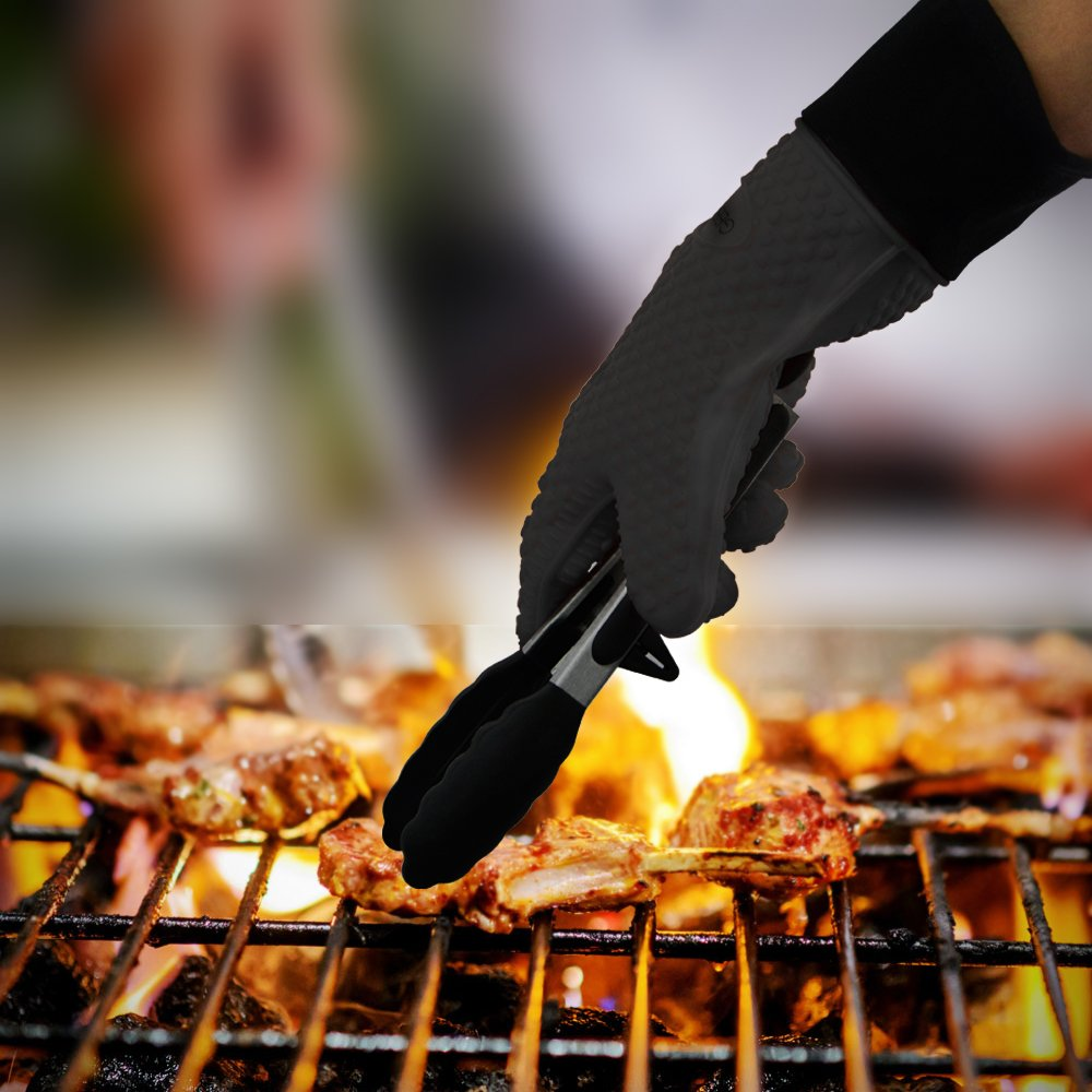 GEEKHOM Grilling Gloves, Heat Resistant Gloves BBQ Kitchen Silicone Oven Mitts, Long Waterproof Non-Slip Potholder for Barbecue, Cooking, Baking (Black) by GEEKHOM (Image #6)