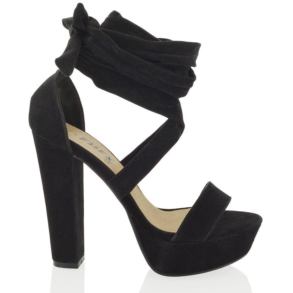 355040ec7b047e ESSEX GLAM Damen Schnürer Hohen Blockabsatz Plateau-Sandalen Party Schuhe   Amazon.de  Schuhe   Handtaschen