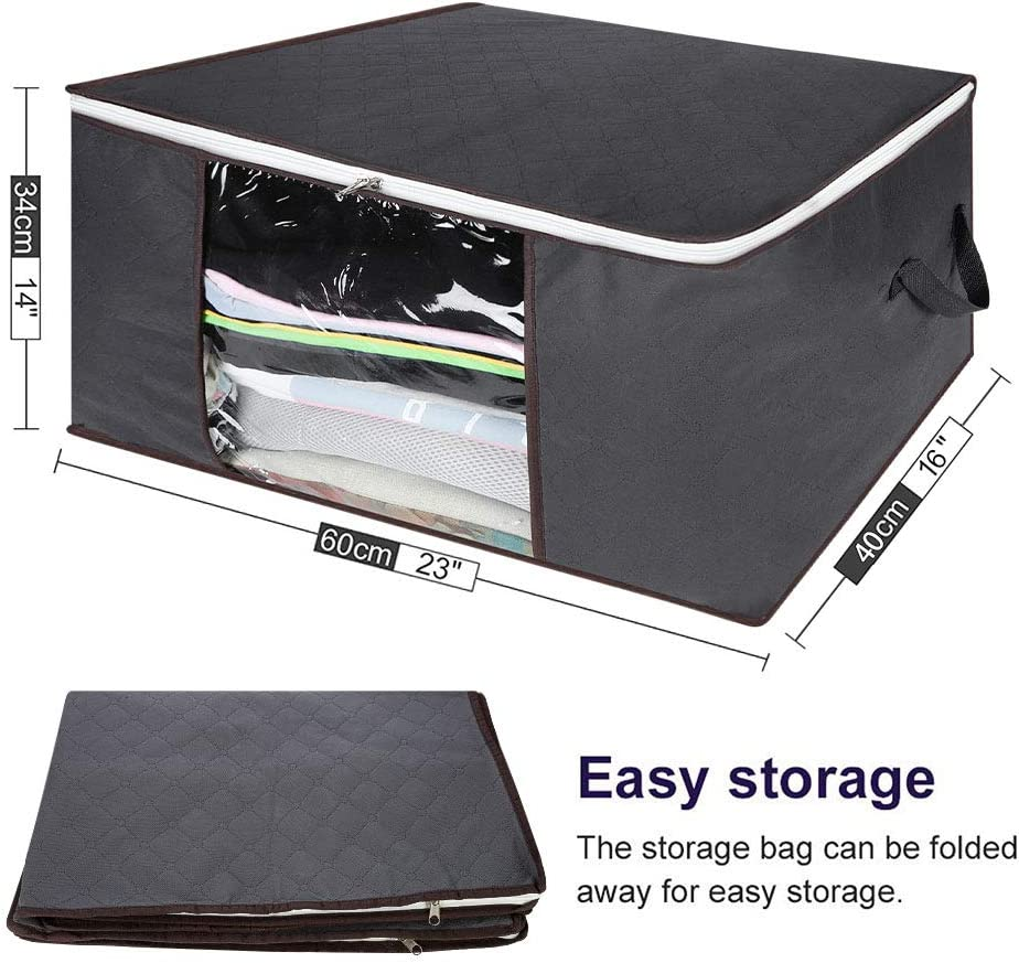 Clothes Bags Home Kitchen Grey Aim Cloudbed 3pcs Clothes Storage Bags Under Bed Storage Containers Foldable Garment Bag Organizers With Clear Window And Carry Handles Perfect For Bedroom Storage