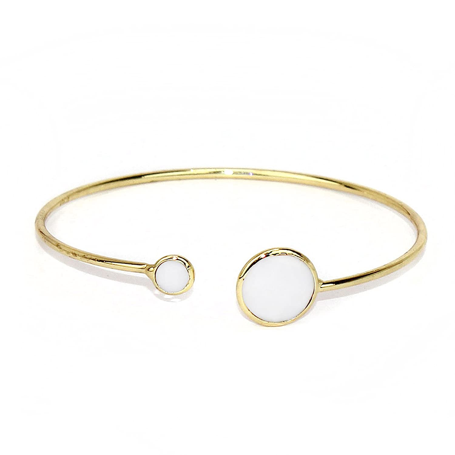 POMINA Open End Bangle Bracelet with Transparent//Opaque Glass Stones