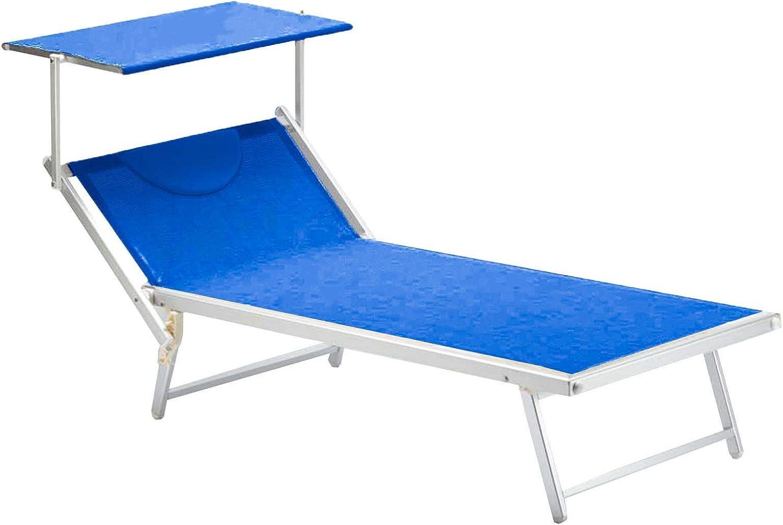 Blu XXL Perfetto per Spiaggia Mare Lettino Pieghevole Professionale Matrimoniale in Alluminio Piscina e Giardino con Tetto Parasole e Rivestimento in Textilene
