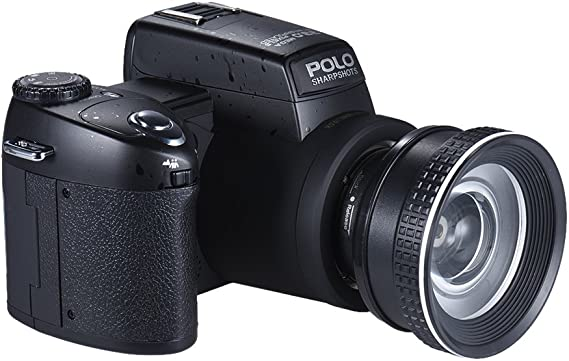 Polo Sharpshots Auto Focus AF 33MP 1080P 30fps FHD 8X Zoomable Digital Camera w/Standard + 0.5X Wide Angle + 24X Telephoto Long Lens 3.0Inch LCD Bulit-in Flashlight PC Cam
