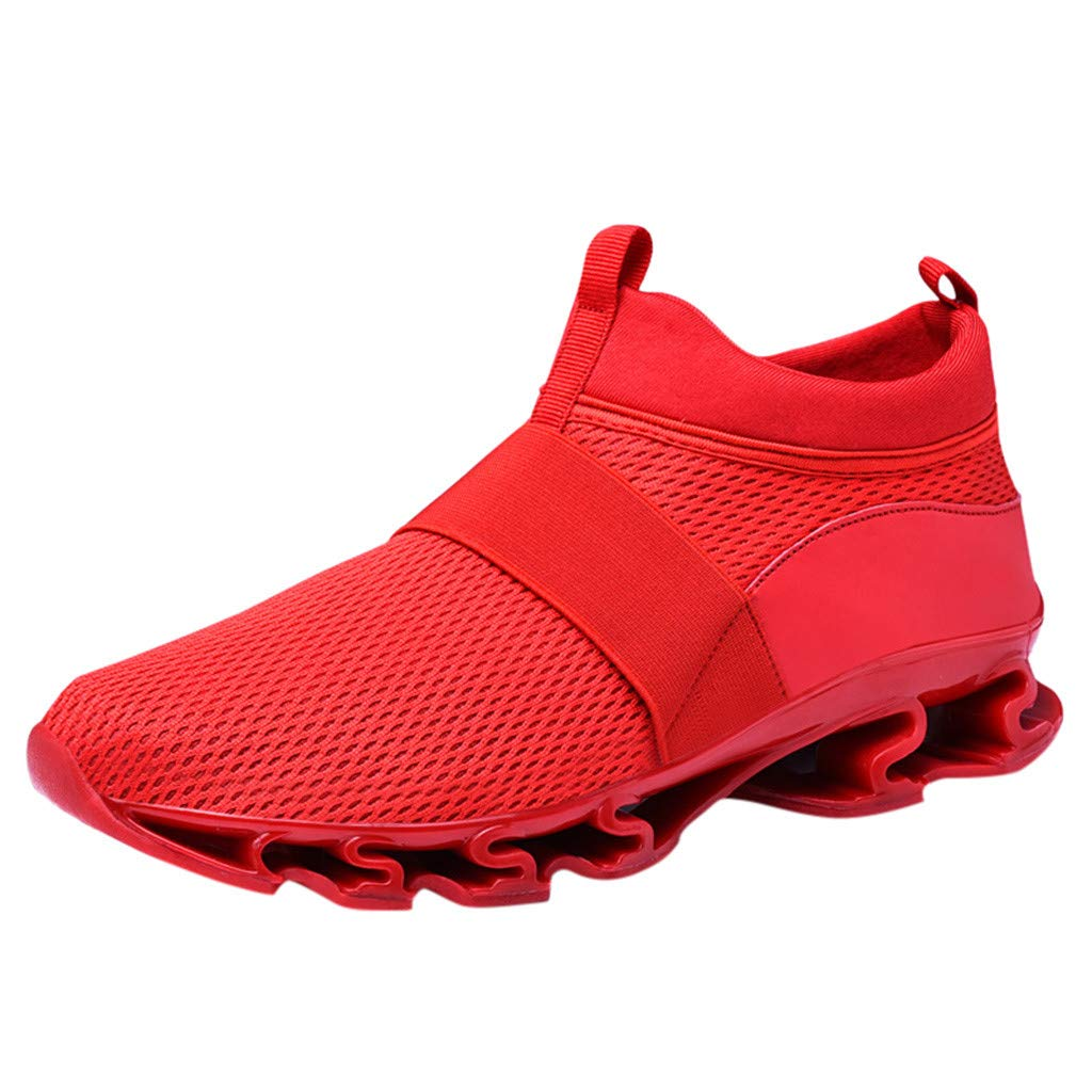 Men Running Sneakers, Male Fashion Non-Slip Sport Shoes Air Cushion Breathable Shoes Mesh Soild Color Run Shoes lkoezi Clearance