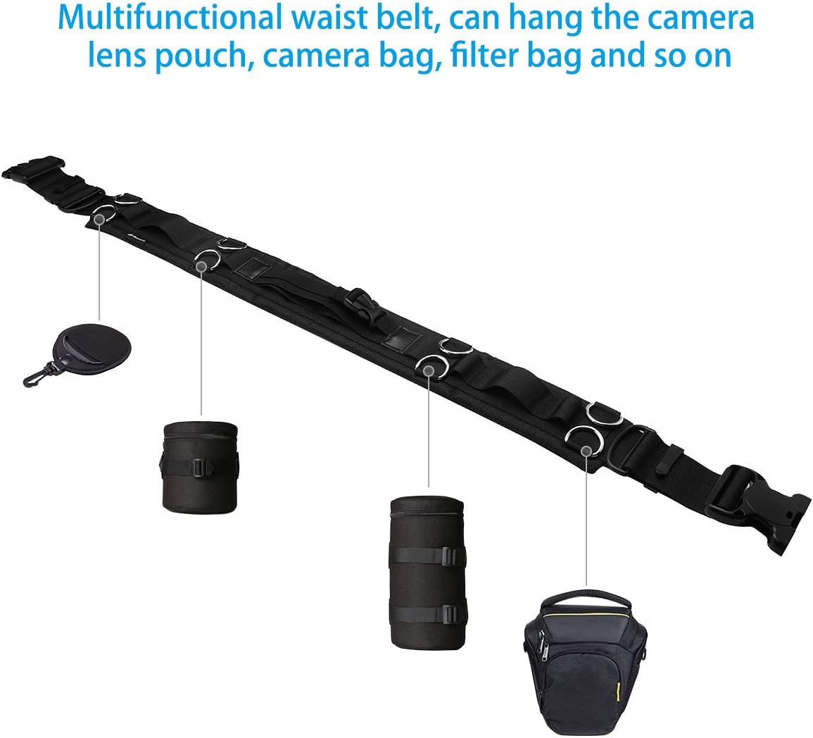 Powerextra Utility Outdoor Photography Adjustable Waist Strap Belt with D-rings for/Hanging Tripod Camera Case Lens Case Flash Case SD Card Pouch and Other Photography Accessories
