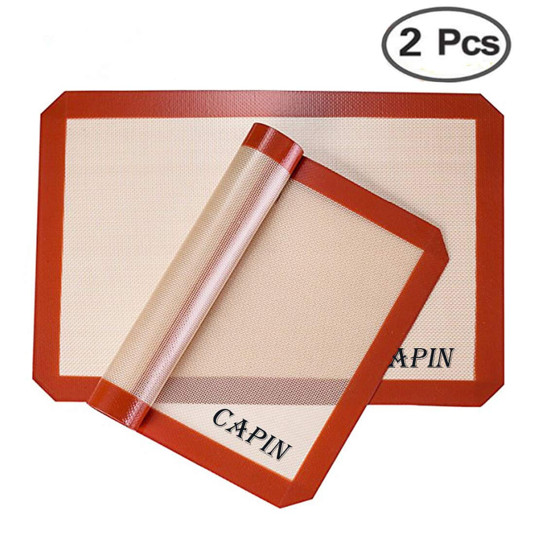 """CAPIN Non-stick Silicone Baking Mat Set, Half Sheet Size for Baking Cookies, Pastry, Macaron, Work Great with Oven (11-5/8"""" x 16-1/2"""", Red)"""