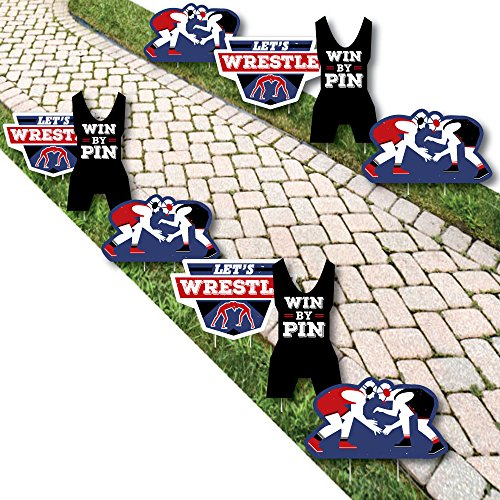 Own The Mat - Wrestling - Wrestler Lawn Decorations - Outdoor Birthday Party Or Wrestler Party Yard Decorations - 10 Piece