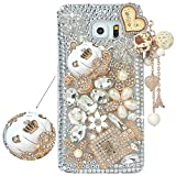 Spritech(TM) Samsung Galaxy S6 Edge Plus Clear Phone Case,Silver Bling 3D Handmade Crystal Bottle Flower Pattern Design Hard Smartphone Cover for Samsung Galaxy S6 Edge Plus