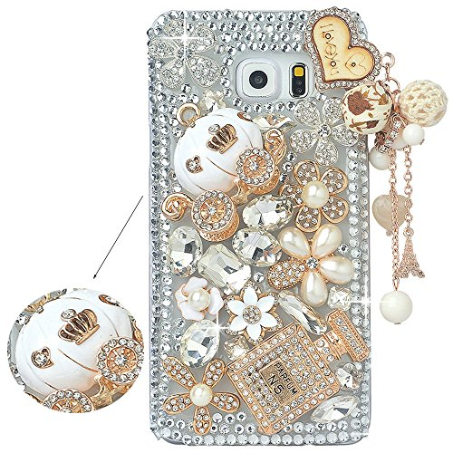 Spritech(TM Samsung Galaxy S6 Edge Plus Clear Phone Case,Silver Bling 3D Handmade Crystal Bottle Flower Pattern Design Hard Smartphone Cover for Samsung Galaxy S6 Edge Plus