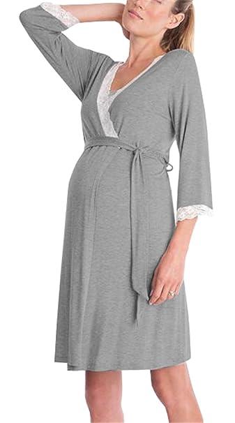 l'atteggiamento migliore ce727 e4efb ZONVENL Donna Camicie Da Notte Prenatal V-collo Manica a 3/4 ...