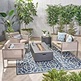 Great Deal Furniture Nance Outdoor Aluminum 4 Seater Chat Set with Fire Pit, Khaki and Silver and Dark Gray