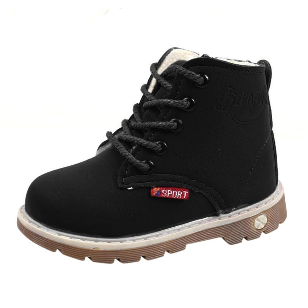 Children Martin Boots,Vanvler [Baby Warm Shoes] Boys Girls Thicken Shoes for Kids (US 6 .5=CN 22, Black)