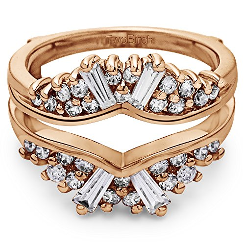 TwoBirch 0.75 ct. Cubic Zirconia Chevron Fan Style Ring Guard in Rose Gold Plated Sterling Silver (3/4 ct. twt.)
