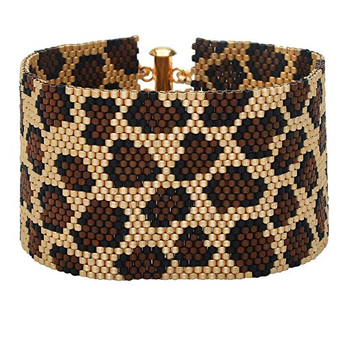 Leopard Print Peyote Bracelet - Exclusive Beadaholique Jewelry (Peyote Bead Bracelet)