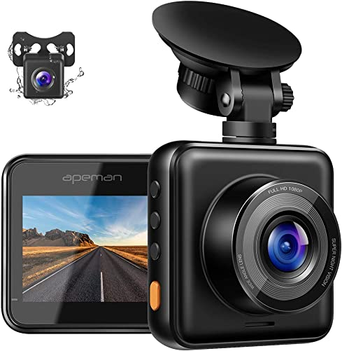 APEMAN Dual Dash Cam for Cars Front and Rear with Night Vision 1080P FHD Mini in Car Camera 170 Wide Angle Driving Recorder with G-Sensor, Parking Monitor, Loop Recording, WDR