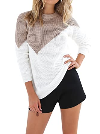 0c562aa7a92e Meilidress Womens Knitted Color Block Sweaters Pullover Long Sleeve Crew  Neck Casual Tunic Tops at Amazon Women s Clothing store