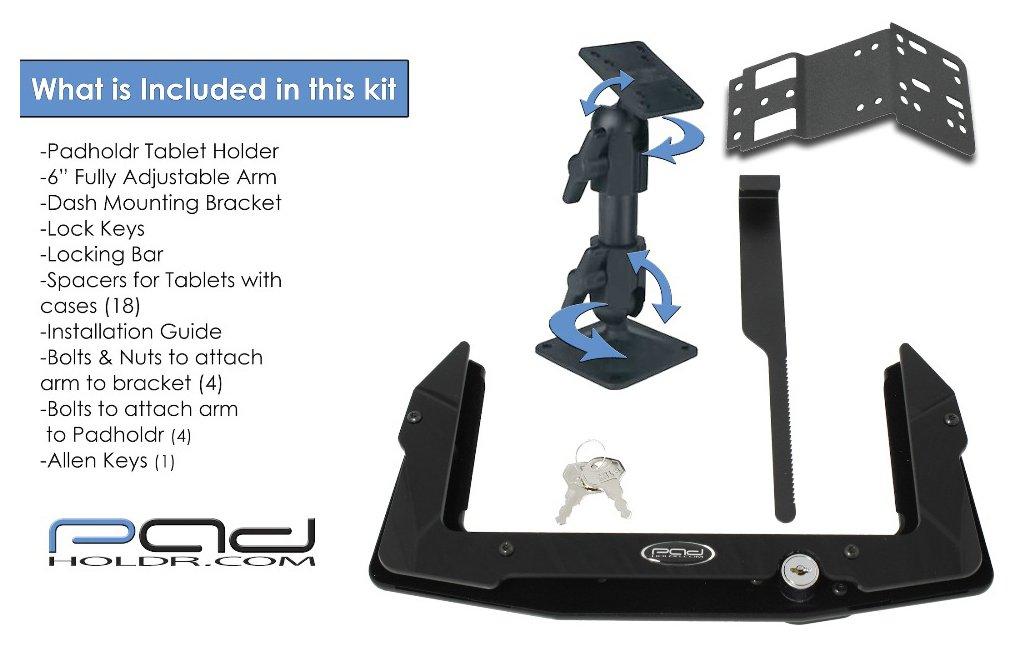 Padholdr Utility Series Premium Locking Tablet Dash Kit for 2005 - 2013 Toyota Tacoma by PADHOLDR (Image #3)