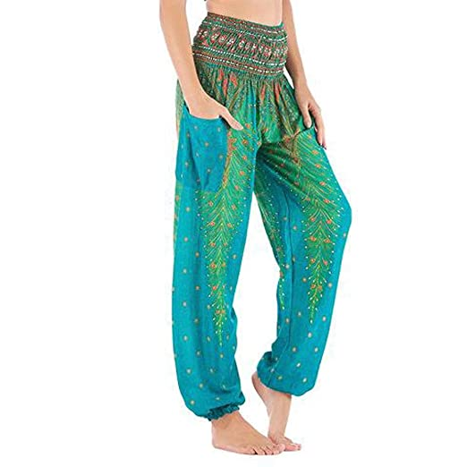 CMmin Pantalones Harem Pantalones de Pavo Real for Mujer ...