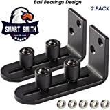 Ball Bearings Design!!!New Upgraded 2 Pcs Barn Door Floor Guide for Doors!!! | Stay Roller Sliding Adjustable by SmartSmith | Unique Guide Flush with Floor | Durable Steel Frame (Black)