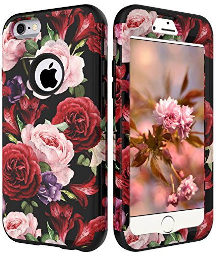 iPhone 6S Case for Girls, iPhone 6 Flowers Case, VSCase(TM) 3in1 [Shockproof] Drop-Protection Hybrid Impact Defender Heavy Duty Full-Body Case Cover for Apple iPhone 6/iPhone 6S 4.7 inch Rose
