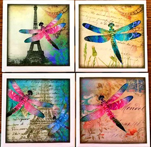 Coaster Tile Dragonfly - Dragonflies in Paris Coasters - Coaster Set - Dragonflies - Dragonfly - Ceramic Tile - Set of 4 - FREE SHIPPING