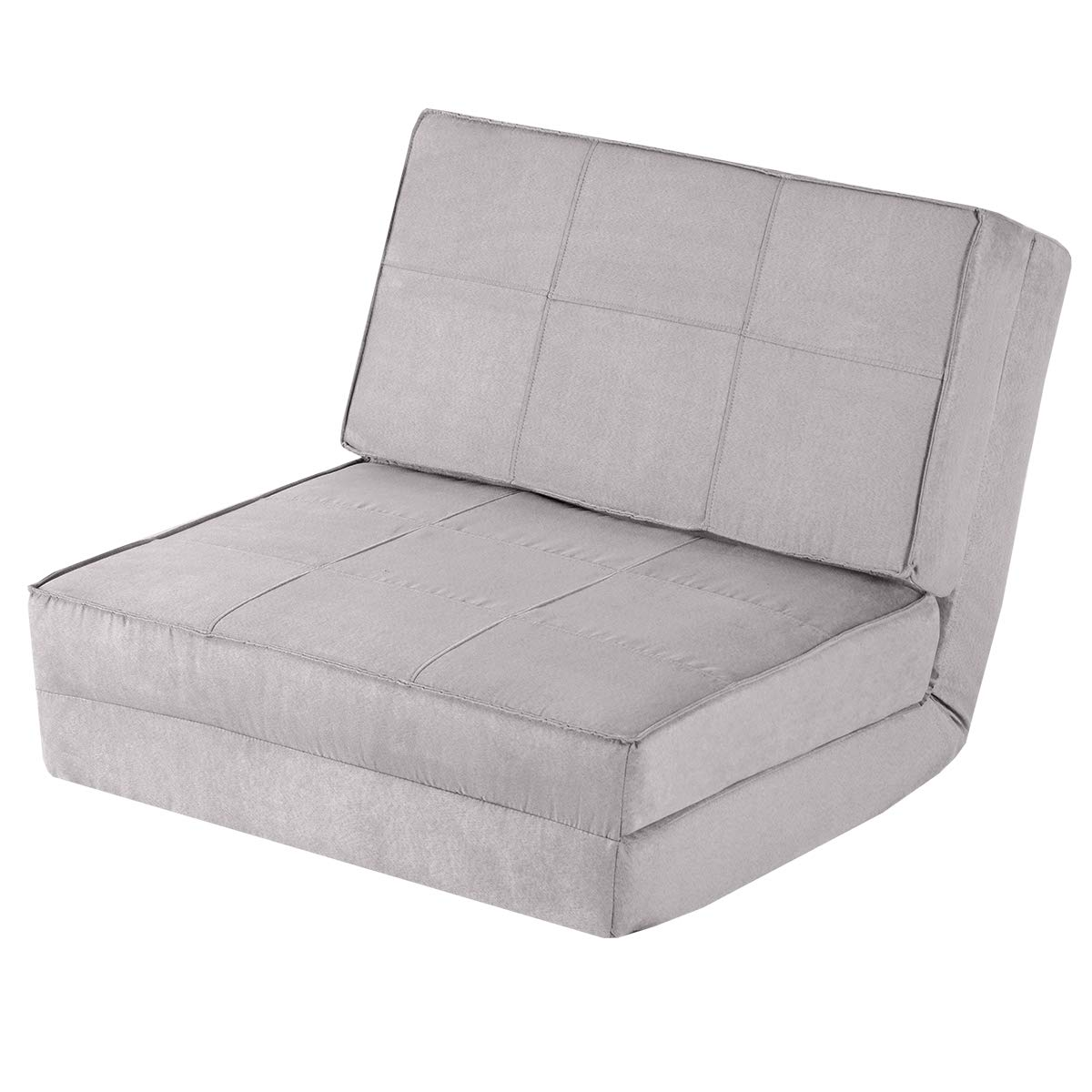 Giantex 5-Position Adjustable Convertible Flip Chair, Sleeper Dorm Game Bed Couch Lounger Sofa Chair Mattress Living Room Furniture, Gray by Giantex