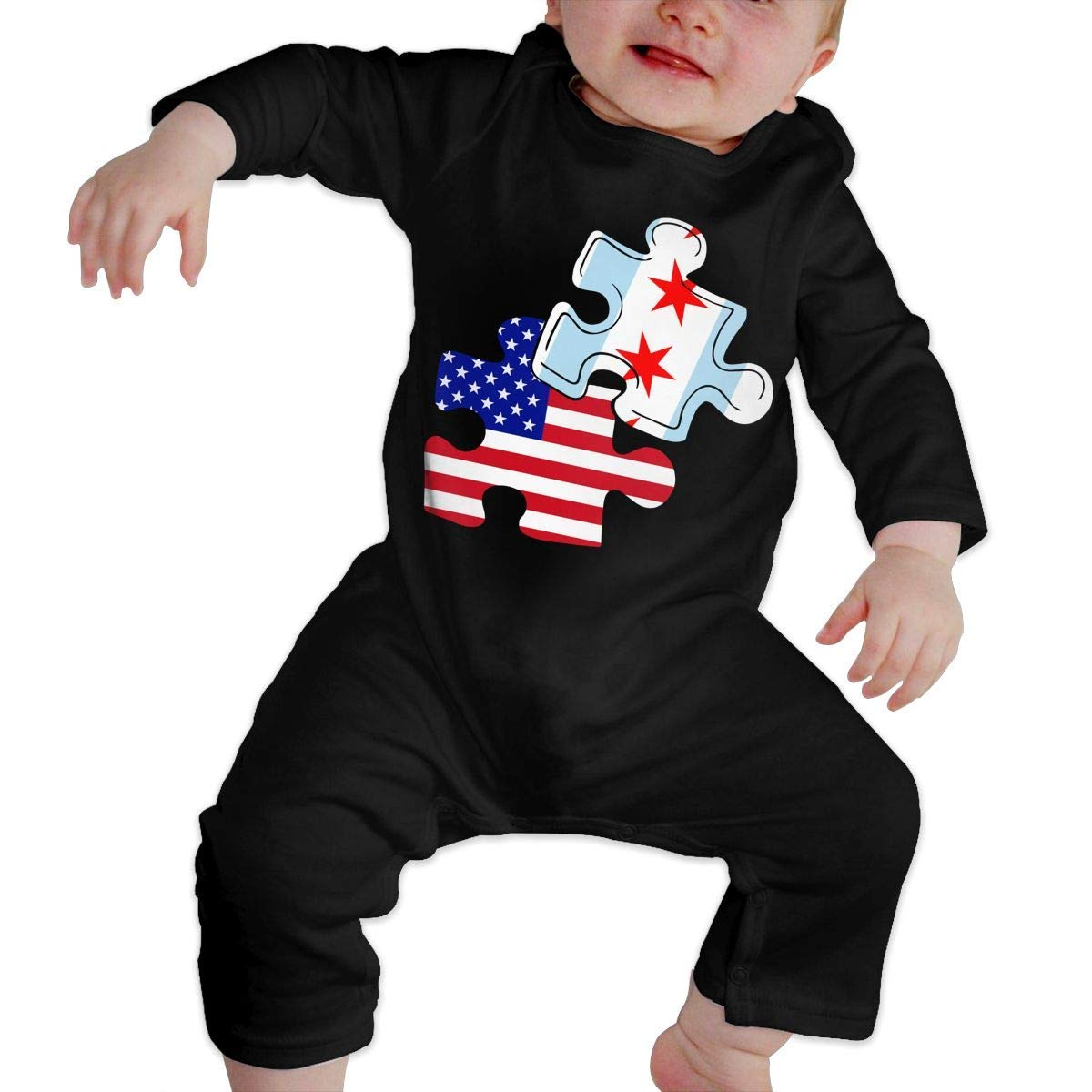 TYLER DEAN Newborn Baby Coverall Chicago American Flag Puzzle Piece Toddler Jumpsuit