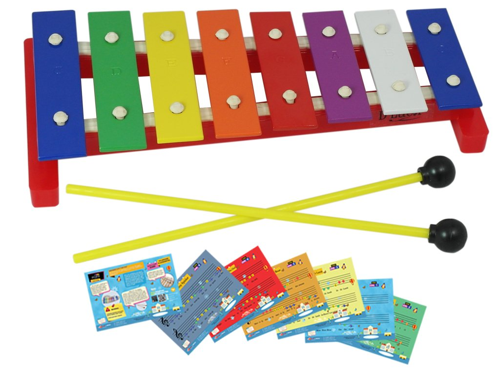 D'Luca TL8-2 8 Notes Children Xylophone Glockenspiel with Music Cards