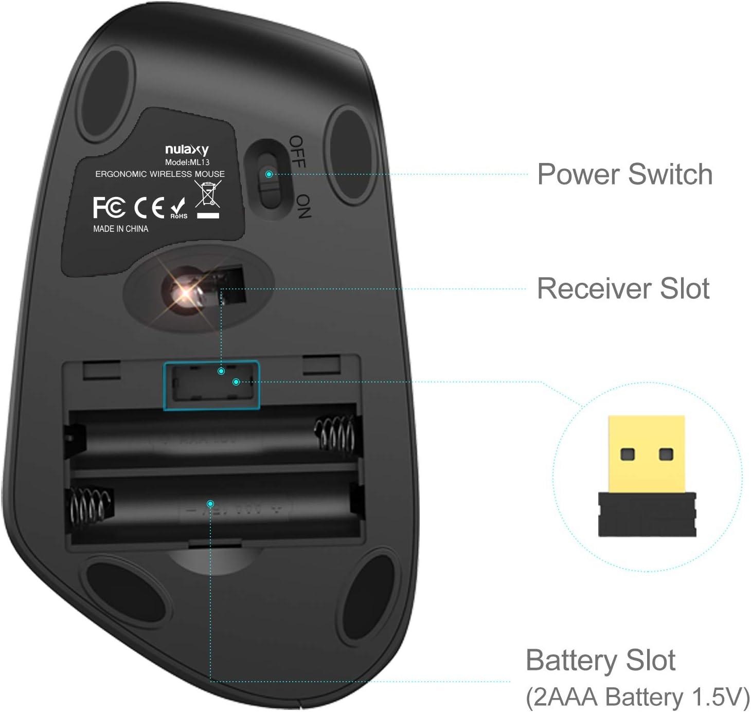 Escritorio Nulaxy Rat/ón Vertical PC 800//1200//1600 MacBook Rat/ón Inal/ámbrico de 2,4 G con 3 dpi Ajustables Rat/ón /óptico Ergon/ómico con 6 Botones para Ordenador Port/átil iPad Negro