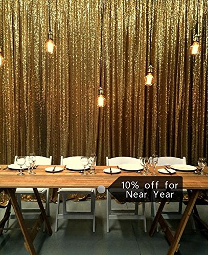 ShinyBeauty Gold Sequin Curtains Party Backdrop 8FTx10FT Panels