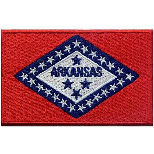 Embroidered Emblem Iron On Sew On AR Patch (Arkansas Ar State Flag)