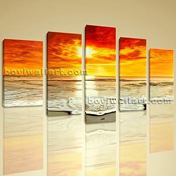 Amazon.com: Huge HD Giclee Canvas Print Multiple 5 Panels Framed ...