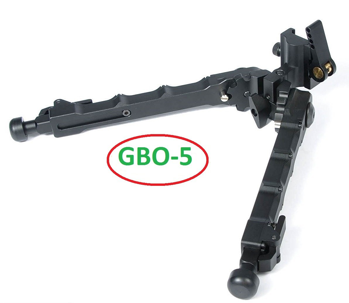 Green Blob Outdoors ( BLACK-GBO-5 ) QD Bipod Black Tactical Bipod 7.25 - 9 inches Flat Adjustable